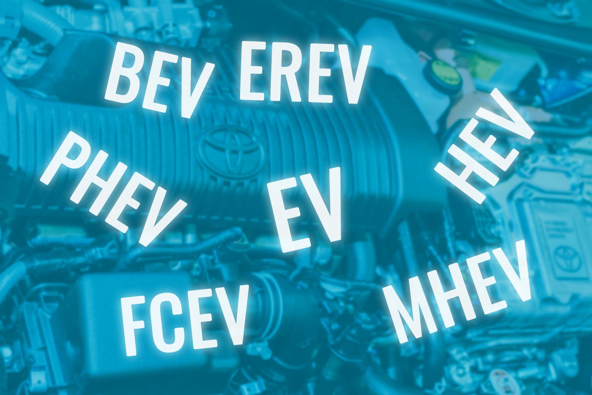 Afkortingen EV's (BEV, PHEV. HEV, FCEV)